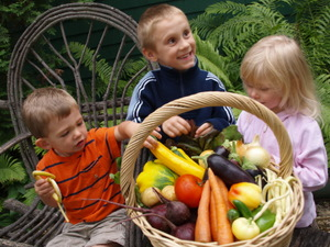kids with basket of produce