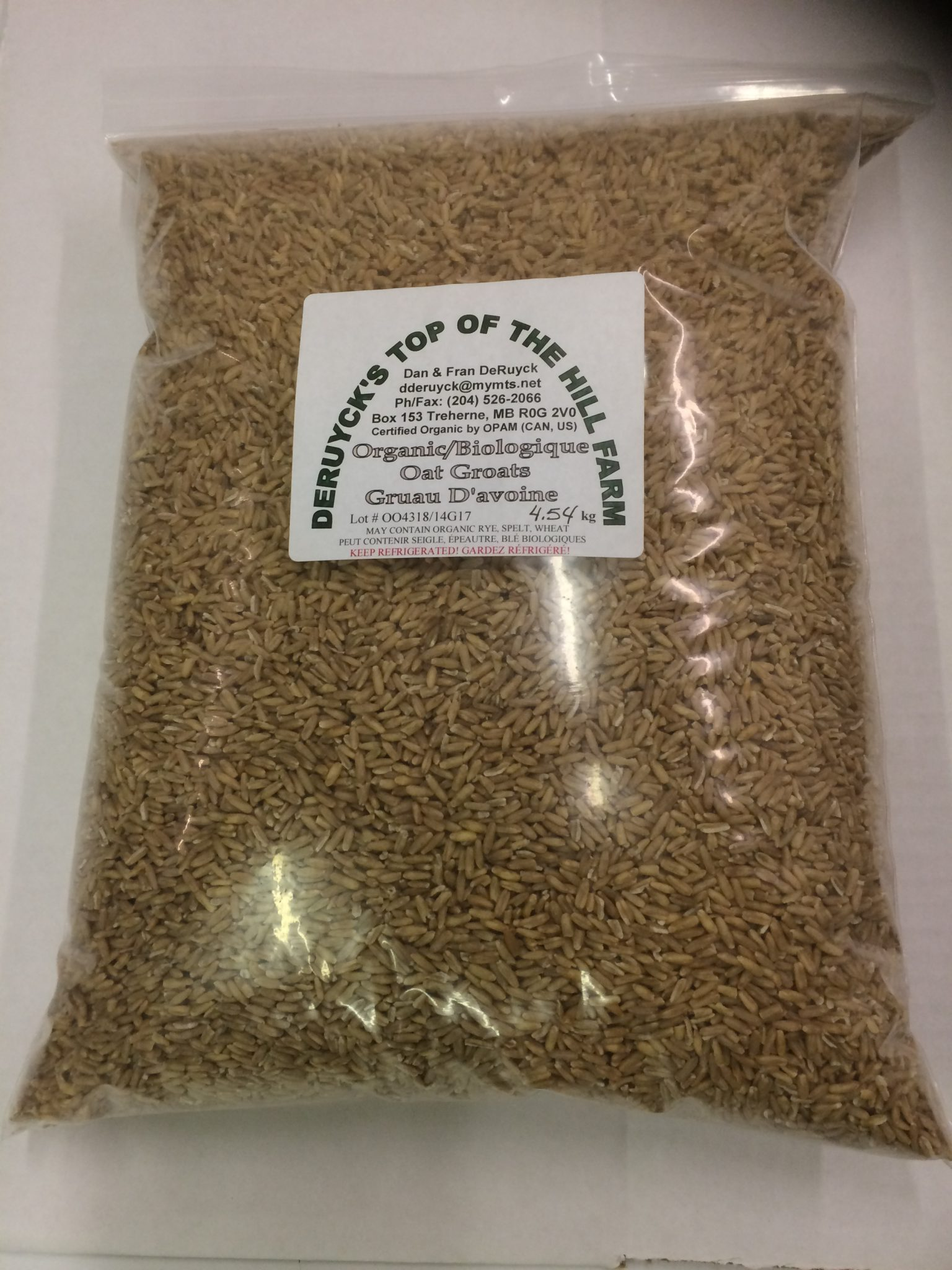 Oat Groats, Organic, LOCAL, DeRuyck's, 4 54 kg oats, berries